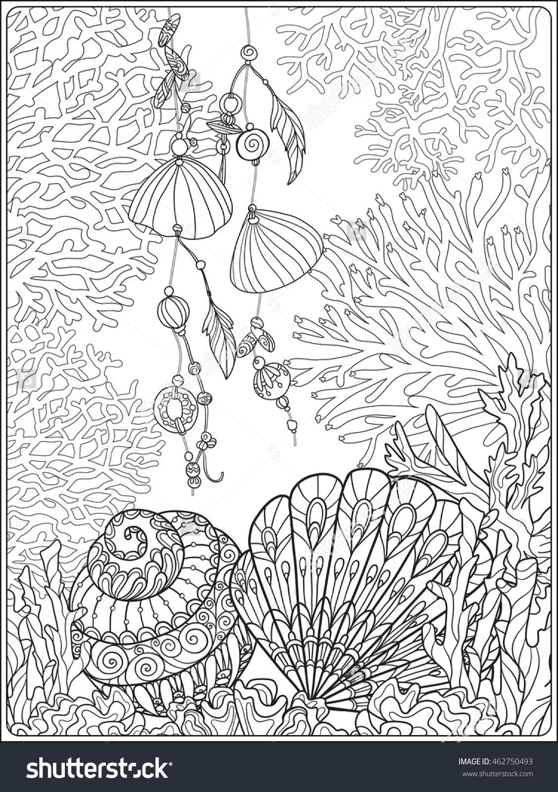 coral, fish and sea shells coloring page for adults ...