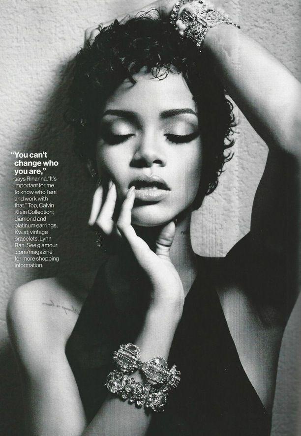 RIHANNA BLACK AND WHITE LOOKS EDITORIAL PHOTOSHOOT GLAMOUR MAGAZINE ... 8542e6647e1