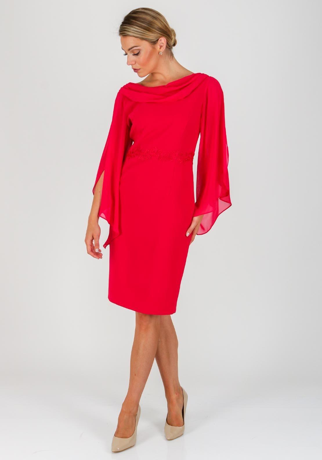 0d30097bdc24 Lizabella Chiffon Sleeve Shawl Collar Dress