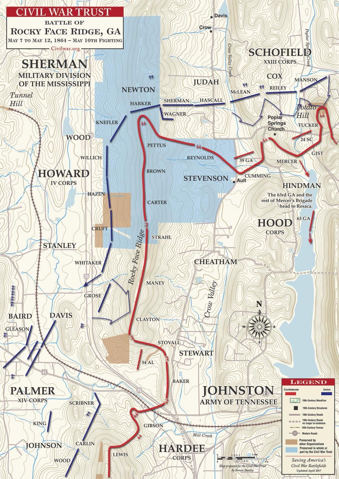 Battle Of Rocky Face Ridge May 10 1864 Civil War Battle Maps - Us-map-1864