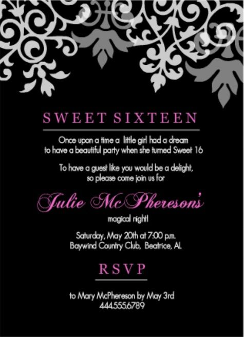 The teen scene can be a tough crowd to please But you can find – 16th Birthday Party Invitation Wording