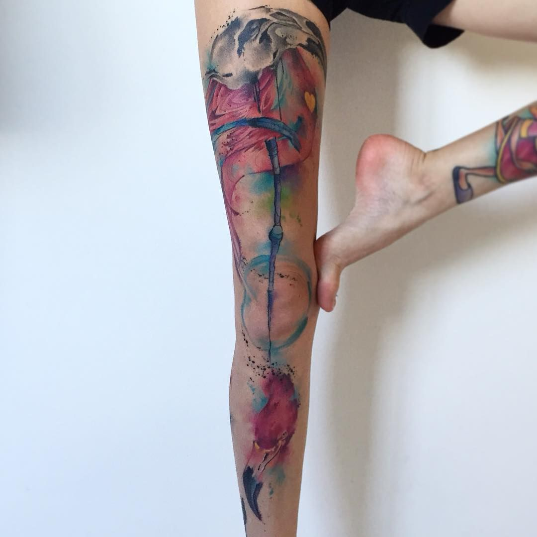 50 Truly Artistic Watercolor Sleeve Tattoos Tattoos Leg Tattoos