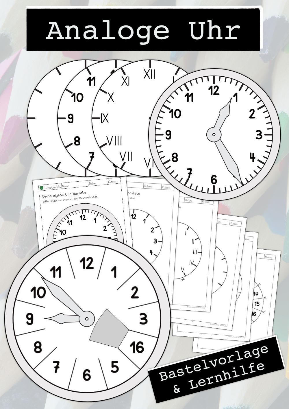 Analoge Uhr Basteln Verstehen Bastelvorlage Lernhilfe Unterrichtsmaterial In Den Fachern Daz Daf Kita Kunst Uhrzeit Grundschule Uhrzeit Lernen Uhr Lernen Kinder