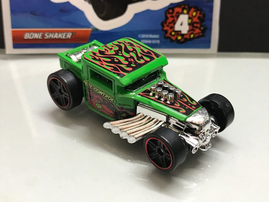 2018 Hot Wheels Mystery Pack 4 Exclusive Bone Shaker Green Loose Mystery Pack Wheels Bone Shaker Hot Wheels Diecast Toy