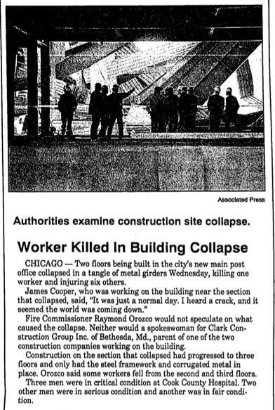 The collapse at the large U.S. post office construction site killed two ironworkers and injured five others on November 3, 1993. The Collaps...
