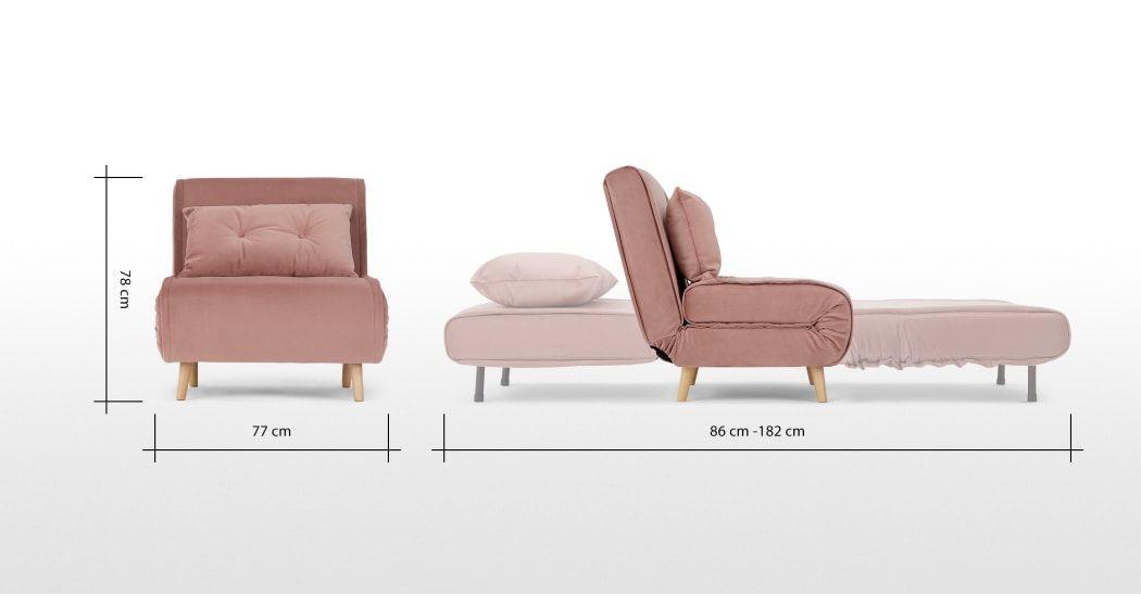Haru Single Sofa Bed Velvet Vintage Pink Single Sofa Pink Single Sofa Bed Small Sofa Bed