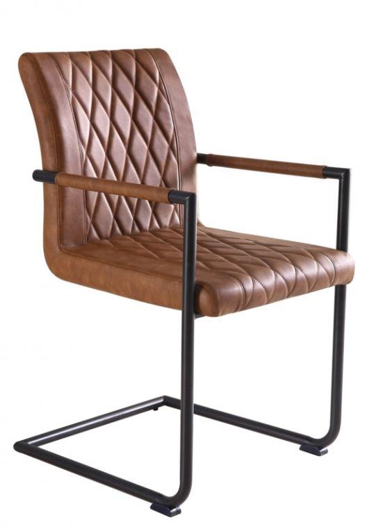 Stoel bradley vintage cognac stoelen kaldenbach for Eettafel stoelen cognac