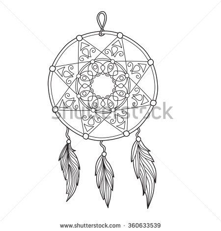 Zentangle Dream Catcher With Feathers For Adult Anti Stress Coloring Page Art Therapy Illustration