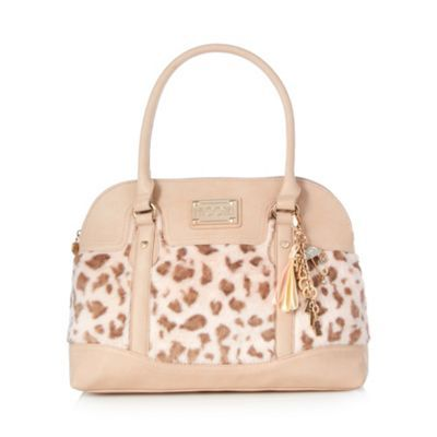 Floozie by Frost French Light pink faux fur leopard kettle bag