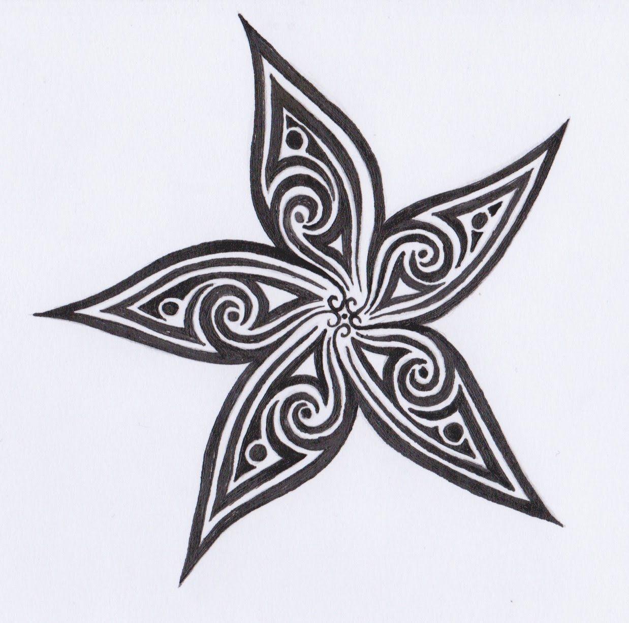 Dessin Tribal Fleur dessin encre - fleur tribal (tribal flower) | recettes à cuisiner