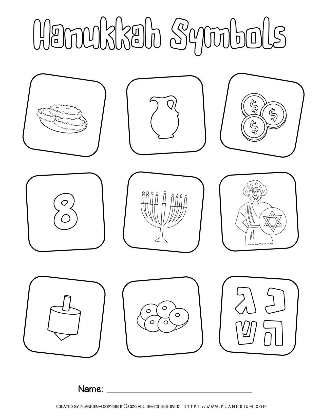 Hanukkah Symbols Coloring Page Free Printable Planerium Hanukkah Symbols Hanukkah Coloring Pages [ 1650 x 1275 Pixel ]