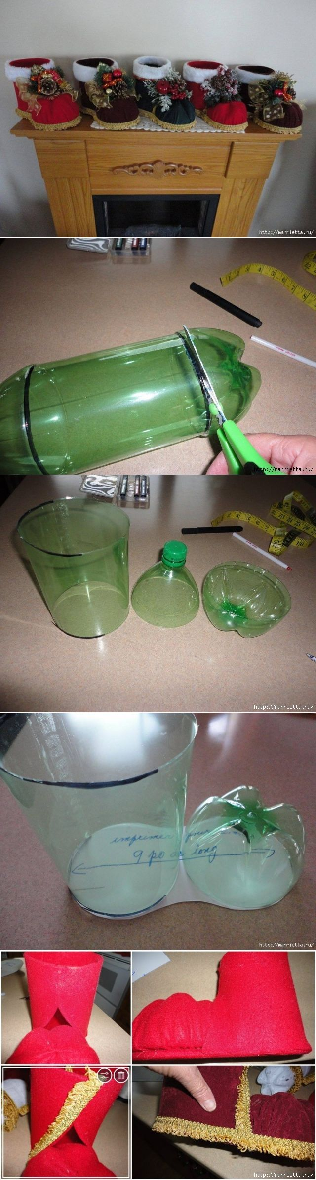 Sapozhok Santa Claus de una botella plástica