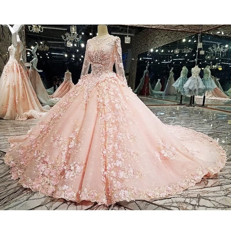Boho Blush Pink Wedding Dresses 2017 Pretty 3d Flower Lace: Muslim Blush Pink Beaded Bridal Dresses 2018 High Collar