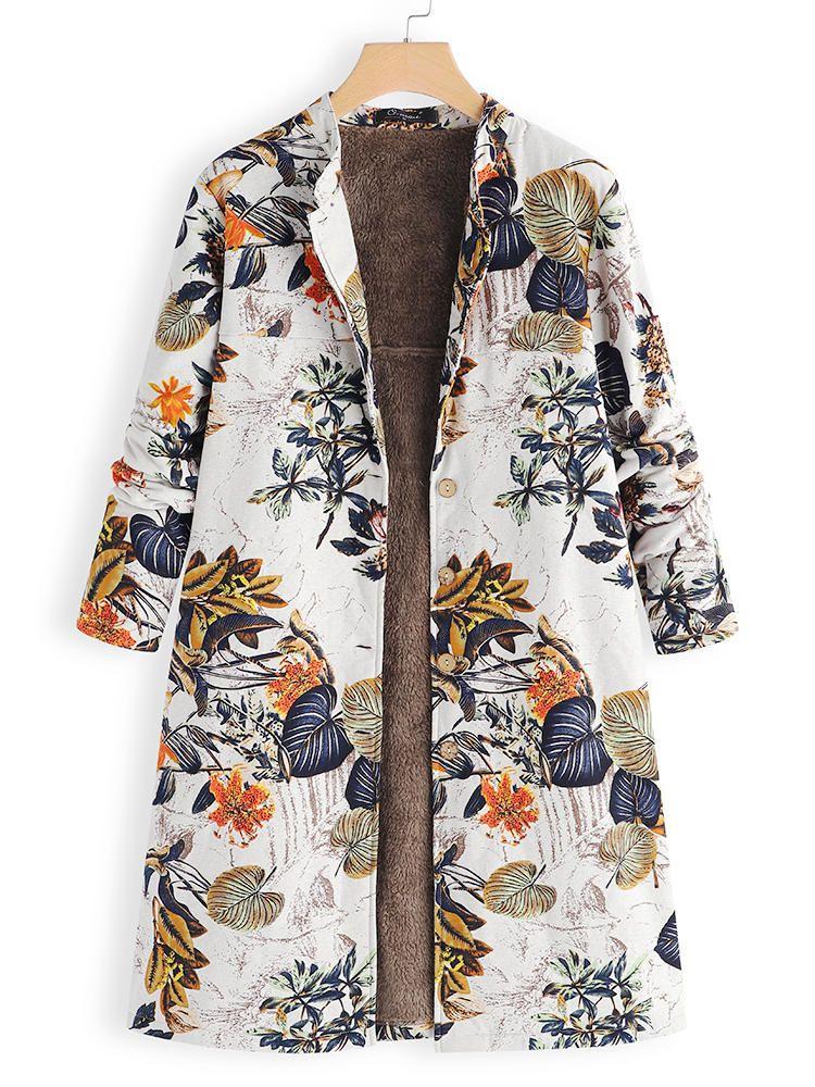 Womens Floral Print Pockets Coat Vintage Oversize Faux Fur Hooded Jacket Overcoat Outwear