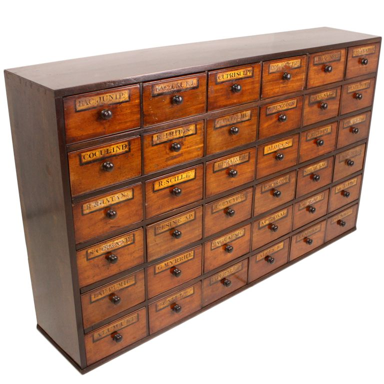 Exceptional Antique English Apothecary Chest  Organize in