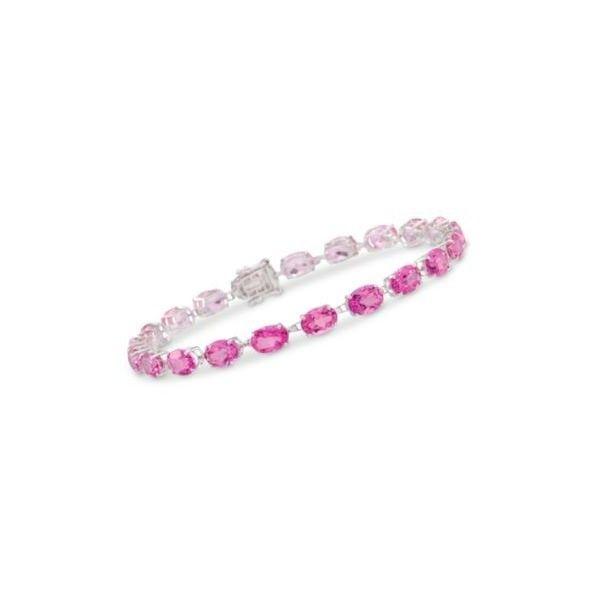 Ross Simons Pink Topaz Bracelet In 14kt White Gold 7 Inches 15 00