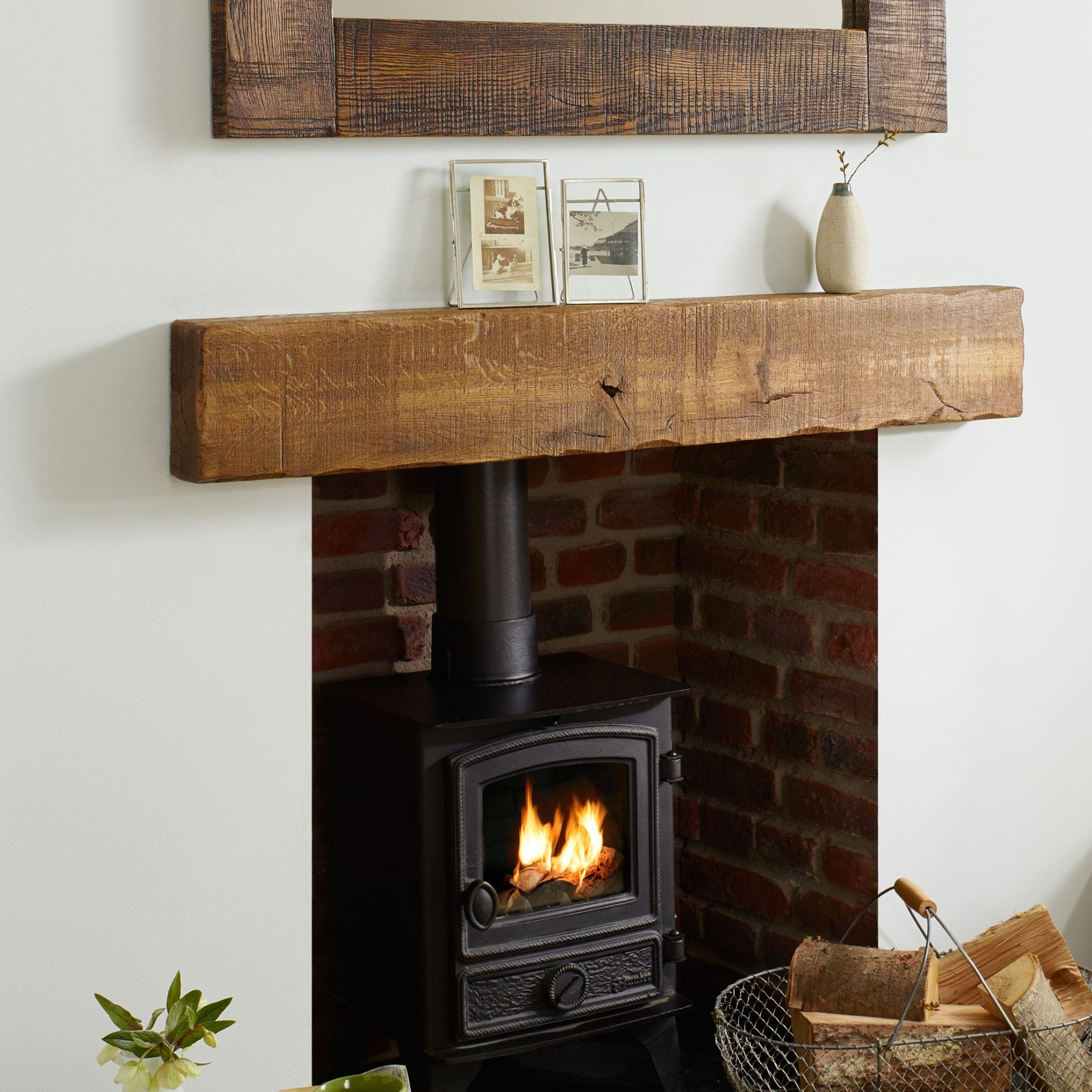 Solid Oak Beam Rustic Character Mantel Shelf Light Sawn