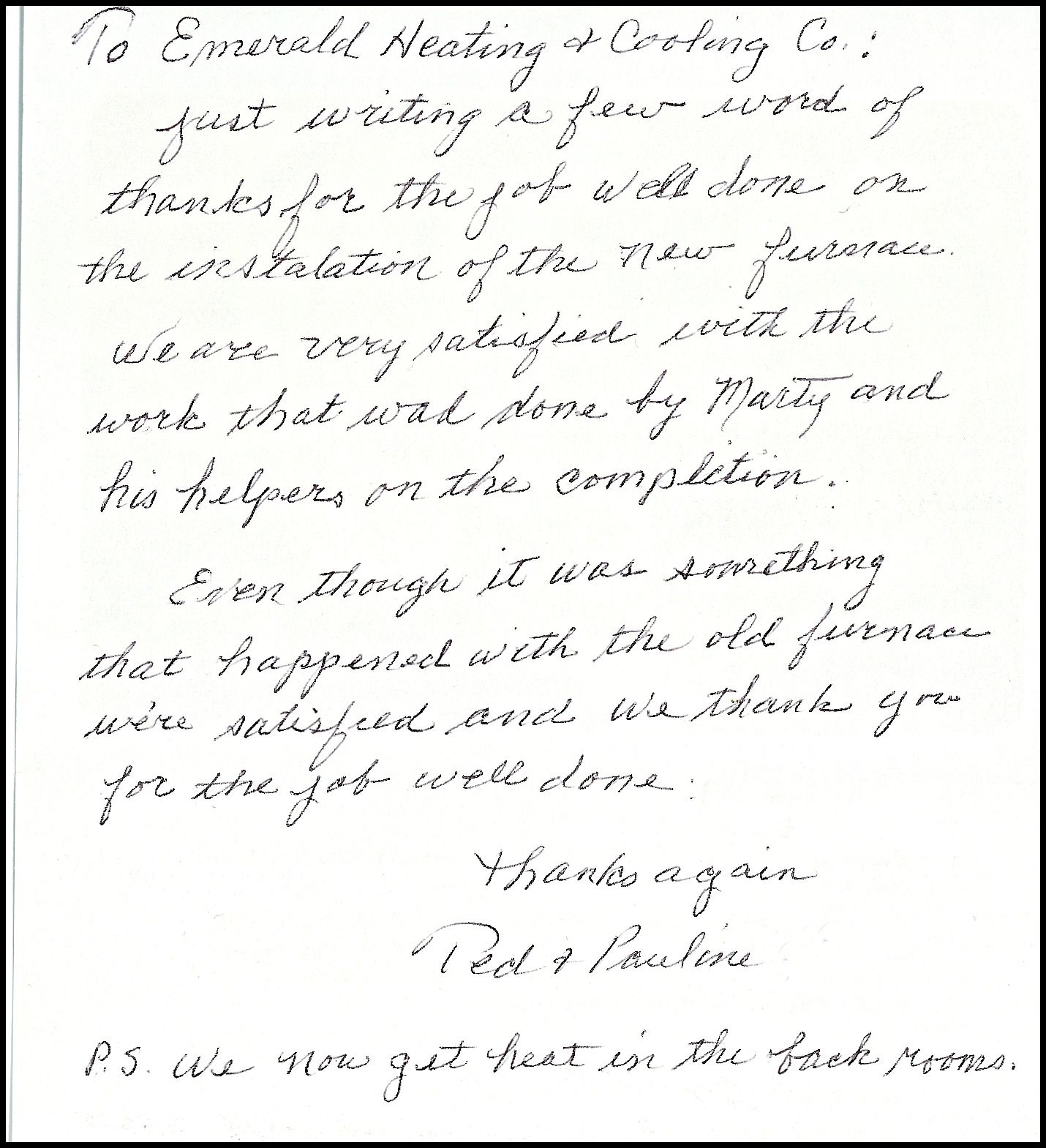 A Thank You Letter From One Of Our Happy Customers Thank You