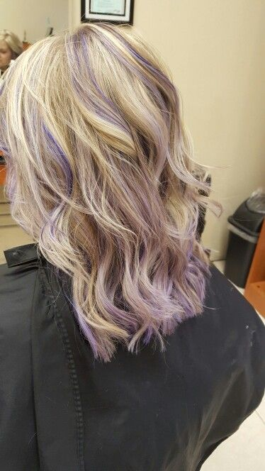 Blonde Lavender Highlights Purple Highlights Blonde Hair Purple Blonde Hair Hair Streaks