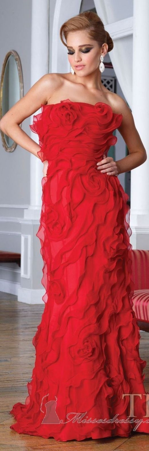 Red ball gown wedding dress  Terani Dress E  Ruffles Gowns and Tony bowls