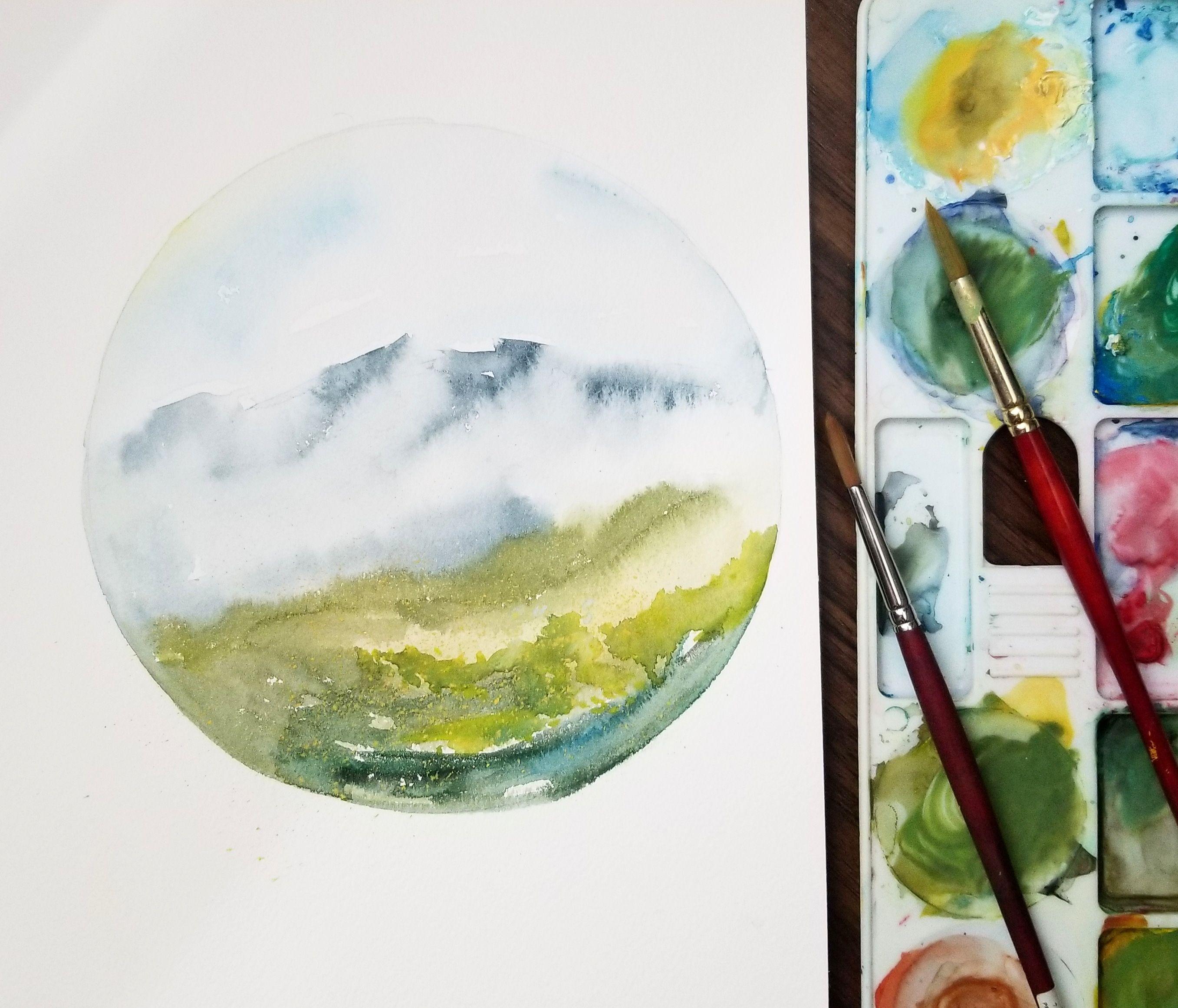 Colorado Landscape Watercolor 8 Diameter