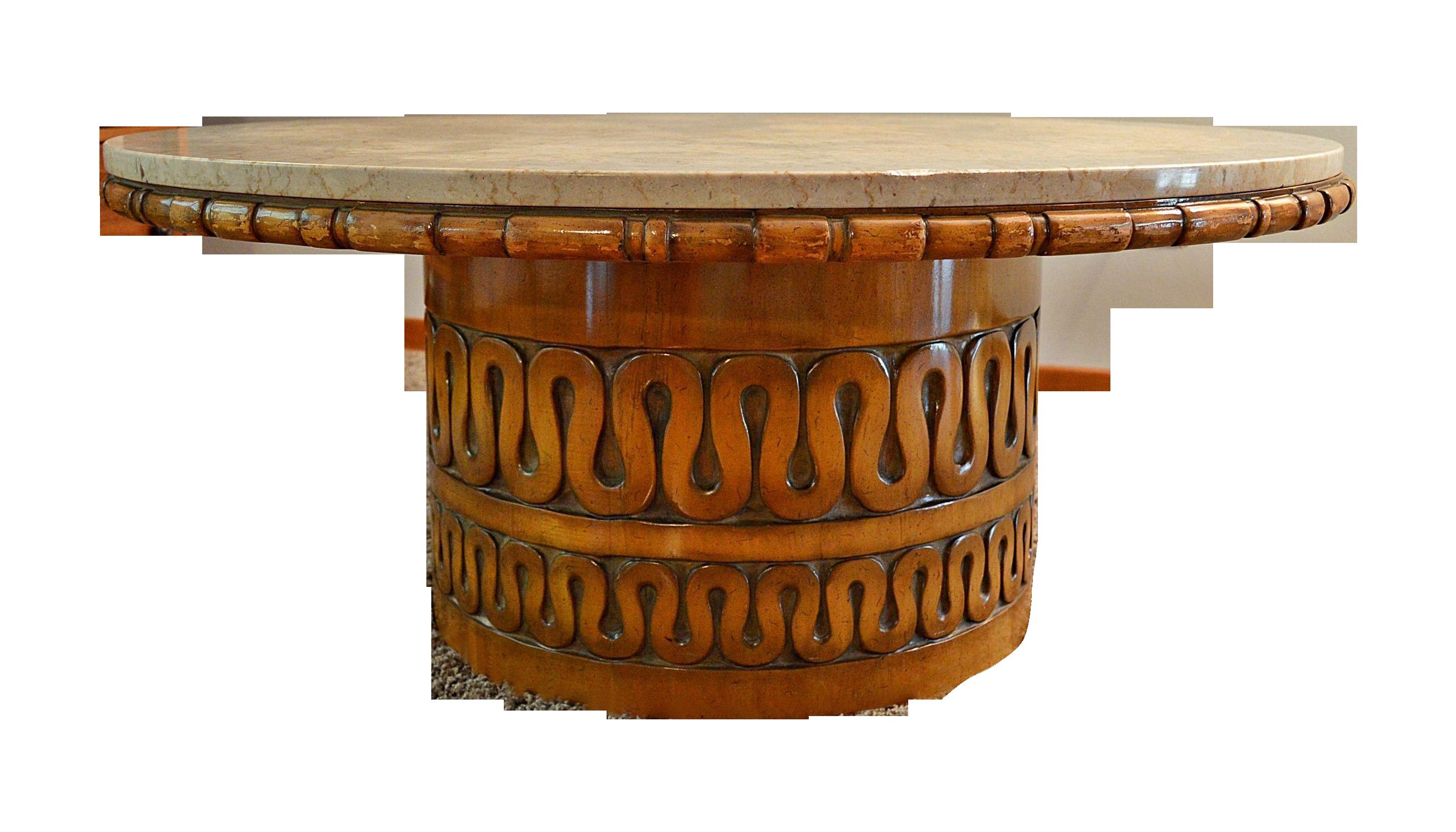 mid century weiman round marble coffee table on chairish com 44 dia