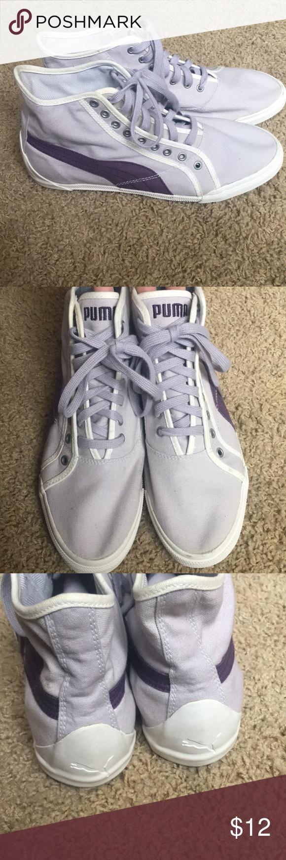 Purple Puma High-Top Sneakers (size