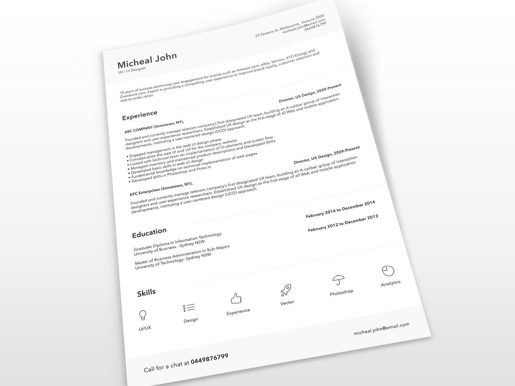 Free Clean Resume Template PSD (mit Bildern) Web design