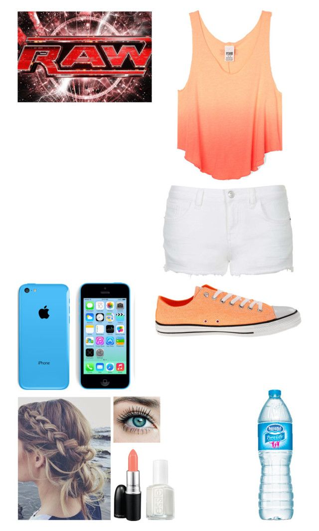 Leaving Monday Night Raw by caton-486 on Polyvore featuring Topshop, Converse, MAC Cosmetics, Essie and Monday