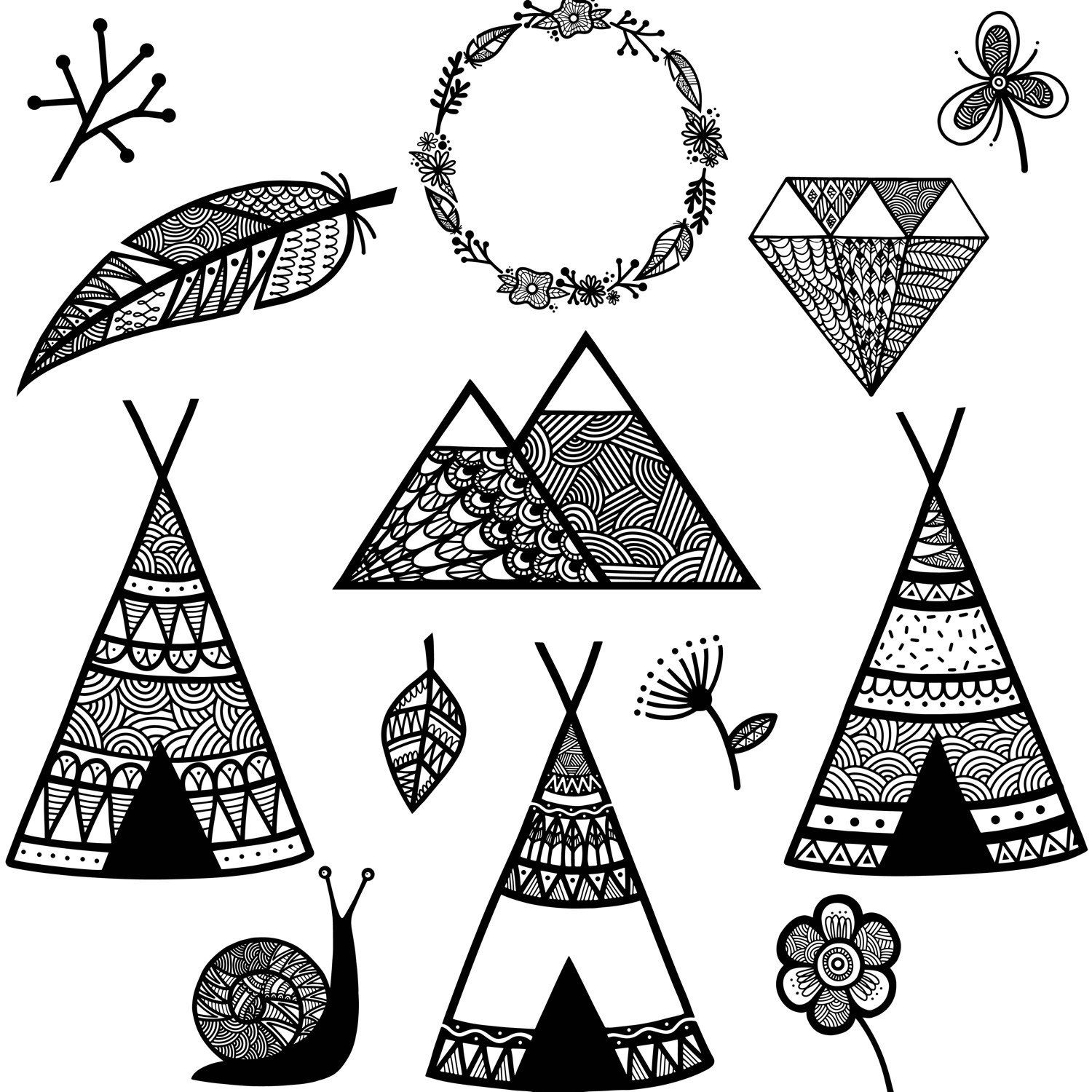 wild woodland clipart wilderness feather black and white rh pinterest com  indian teepee clipart
