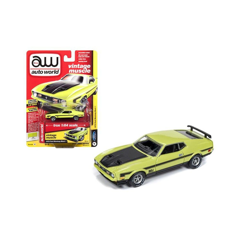 1972 ford mustang mach 1 lime green w black stripes limited edition to 3960 pieces 1 64 diecast model car by autoworld