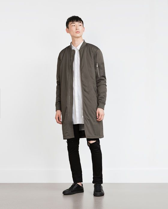 LONG BOMBER JACKET | Wardrobe Essentials | Pinterest | Long bomber ...