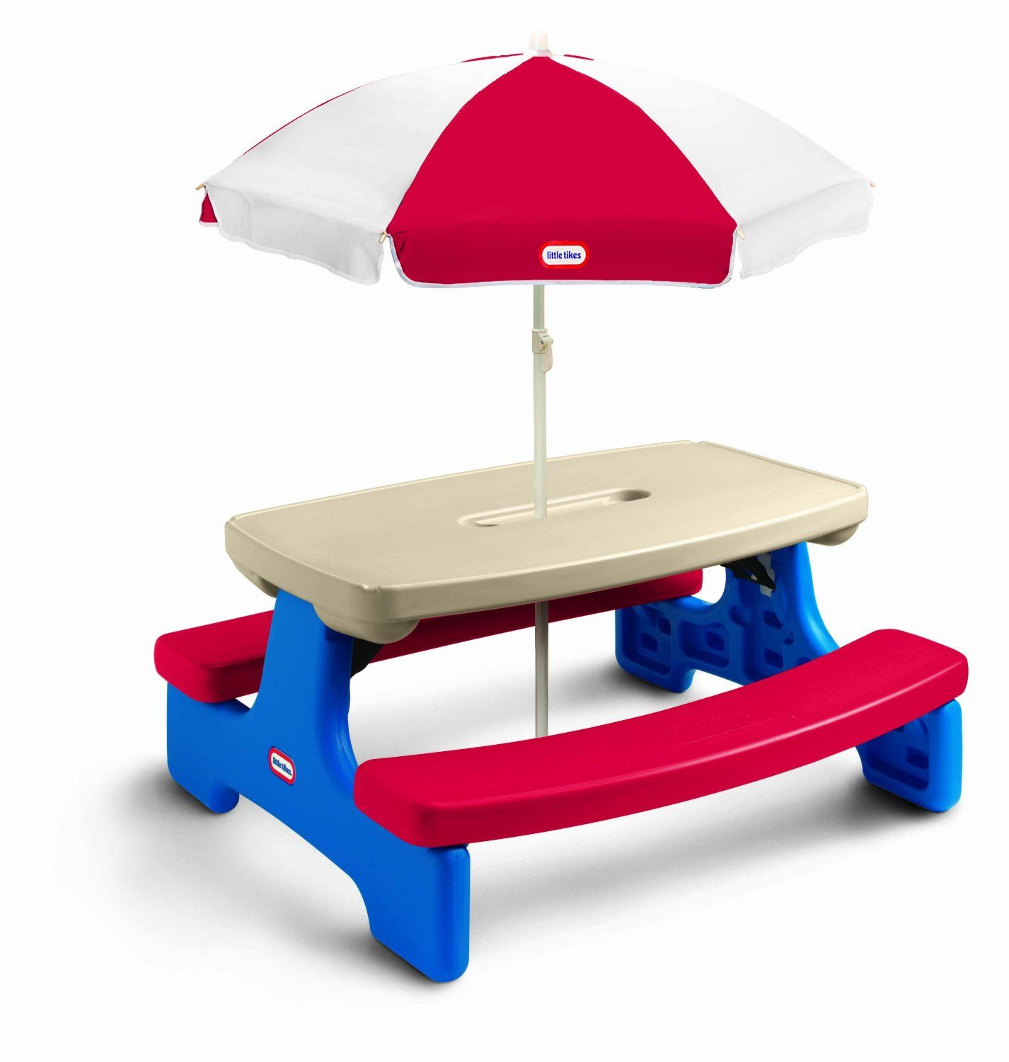 Amazon.com: Little Tikes Easy Store Large Picnic Table with Umbrella ...