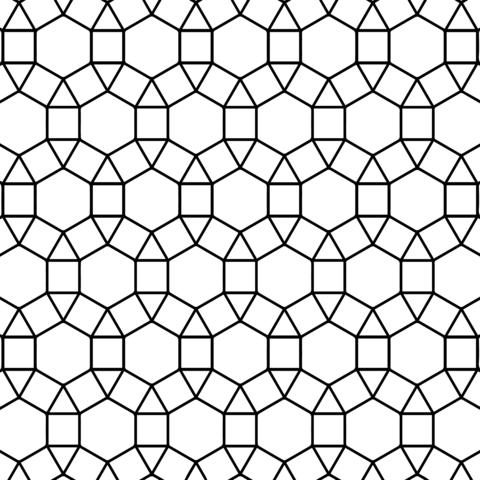 Kachelung mit Sechseck, Dreieck und Quadrat Ausmalbild | kreativ ...