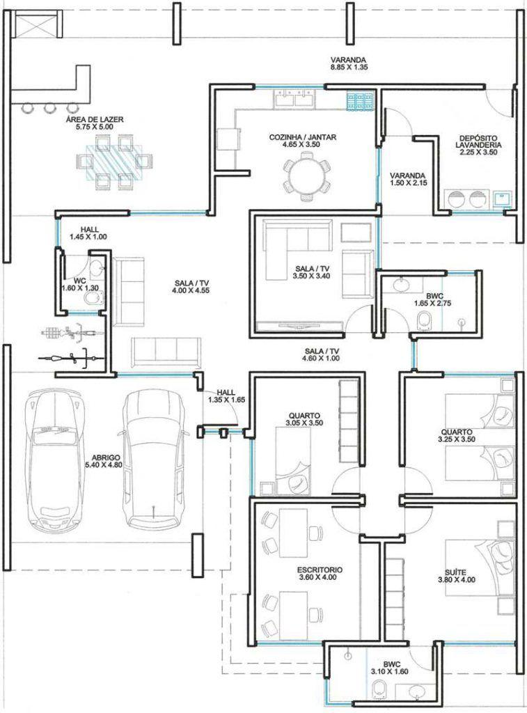 Super plantas de casas com 3 quartos e escritorio | Planta de casa  SZ82