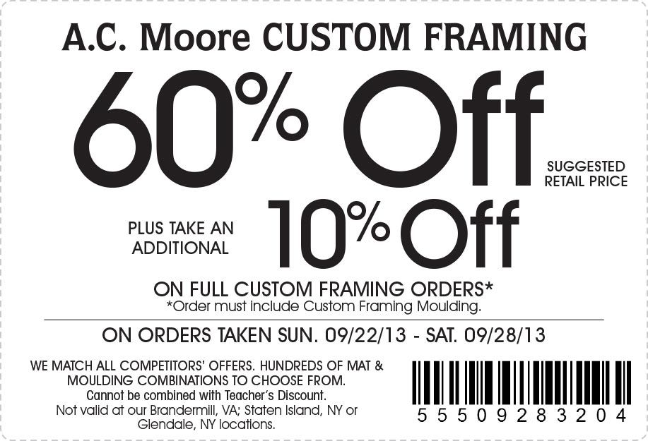 AC Moore: 60% off Custom Framing Printable Coupon | Coupons ...