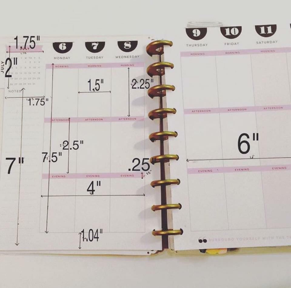 measurements for the happy planner very helpful when cutting paper