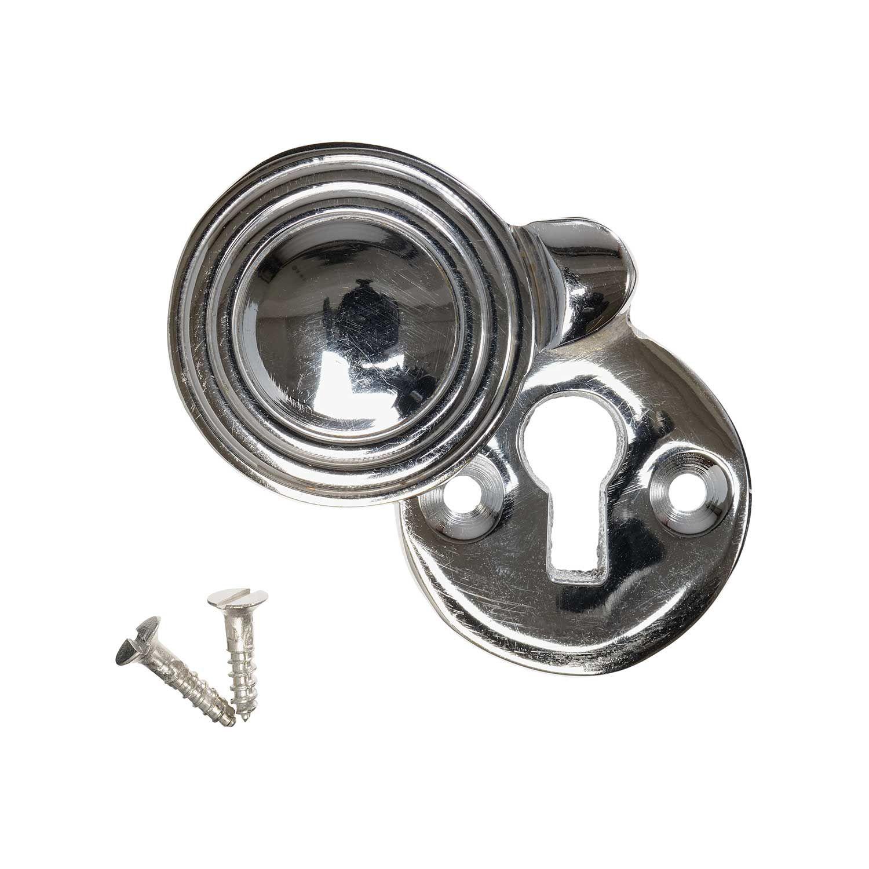 Solid Ebony Beehive Escutcheon With Brass Backplate Door Furniture: Nickel Reeded Round (single