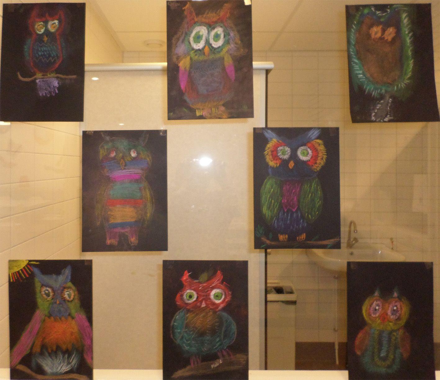 Uilen Knutsel Pastelkrijt Groep 8 Craft Owls School