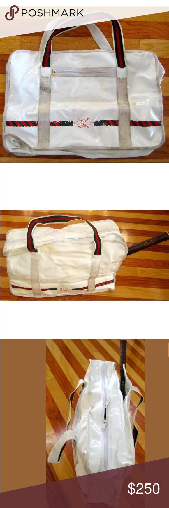 c85b9268e2d8 1970s GUCCI LARGE WHITE VINYL TENNIS BAG STRIPE Vintage Gucci from the 70s. Large  tennis