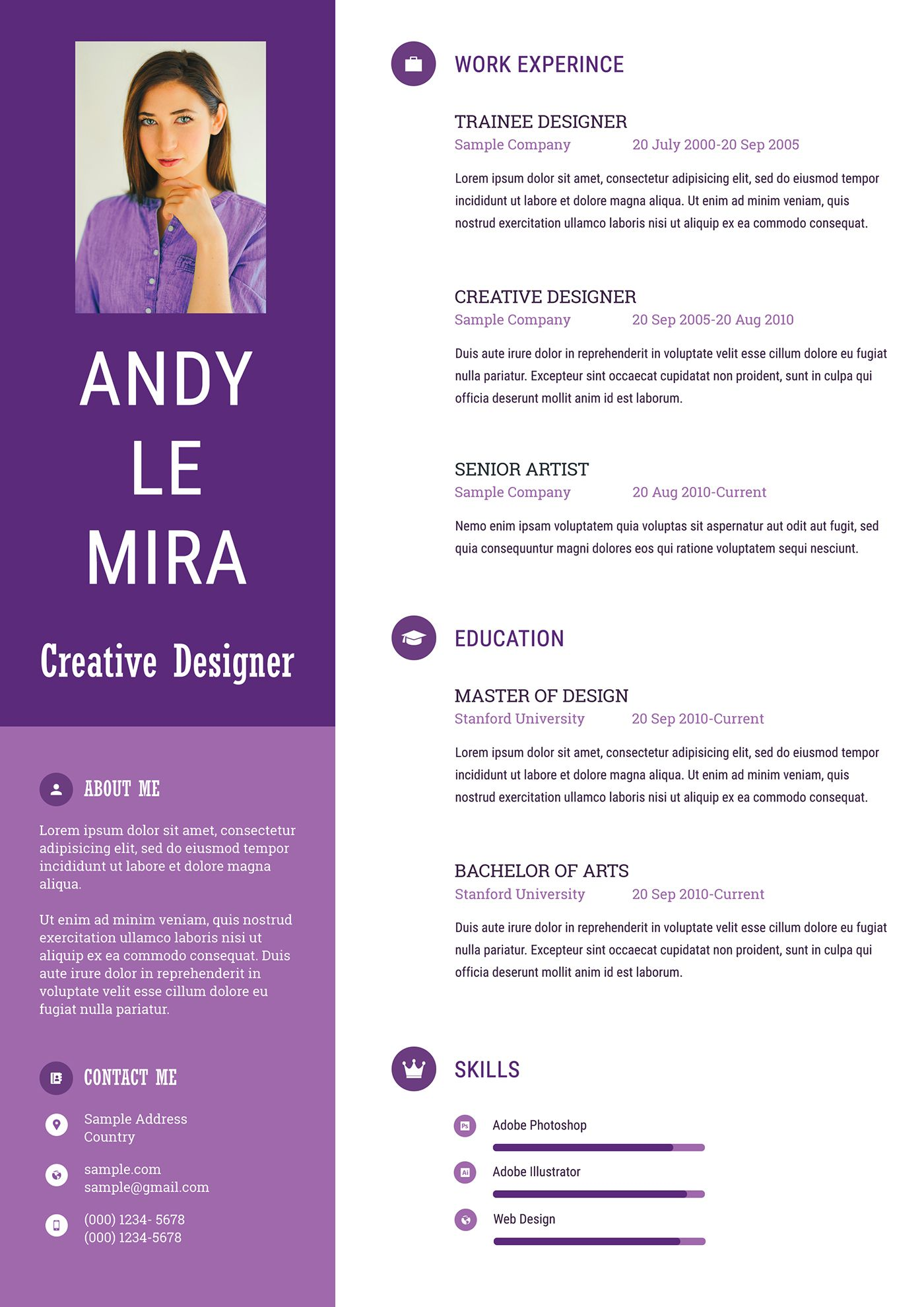 Fashion Stylish Resume Template Free Download in 2020