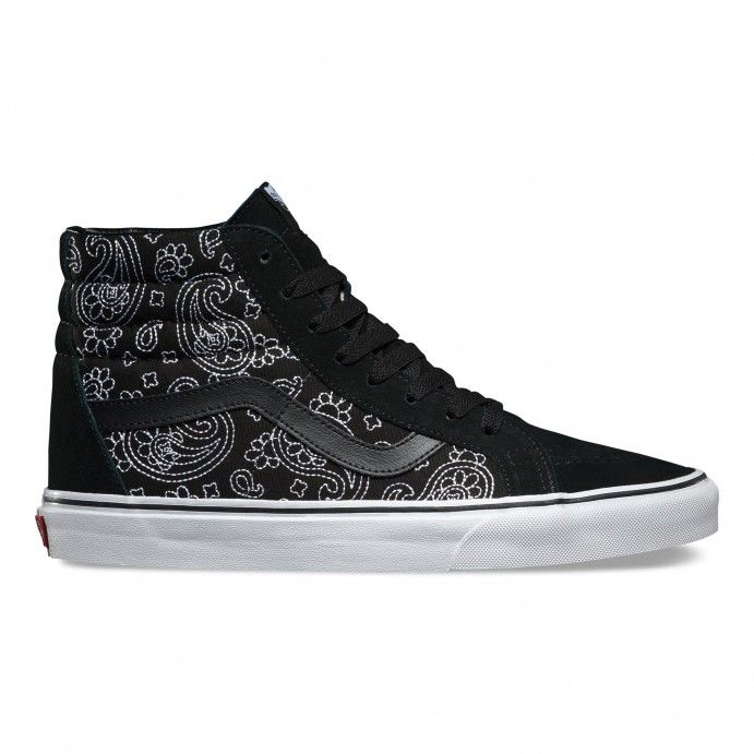 The Bandana Stitch Sk8-Hi Reissue, the legendary Vans high top reissued with a vintage sensibility, features sturdy canvas and suede uppers with a bandana pattern chain stitched on the center panel, re-enforced toecaps to withstand repeated wear, signatu