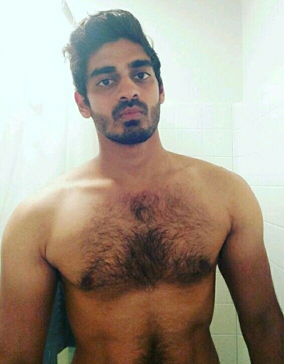 Hairy naked upper body of a man