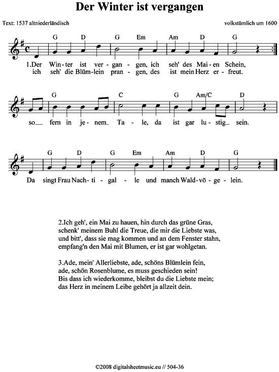 Der Winter Ist Vergangen Volkstumlich Lieder Liederbuch Kinder Lied