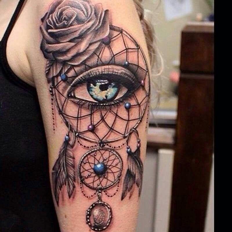 Dream Catcher Tattoo With Eye Third Eye Tattoos Cool Shoulder Tattoos Dream Catcher Tattoo Design