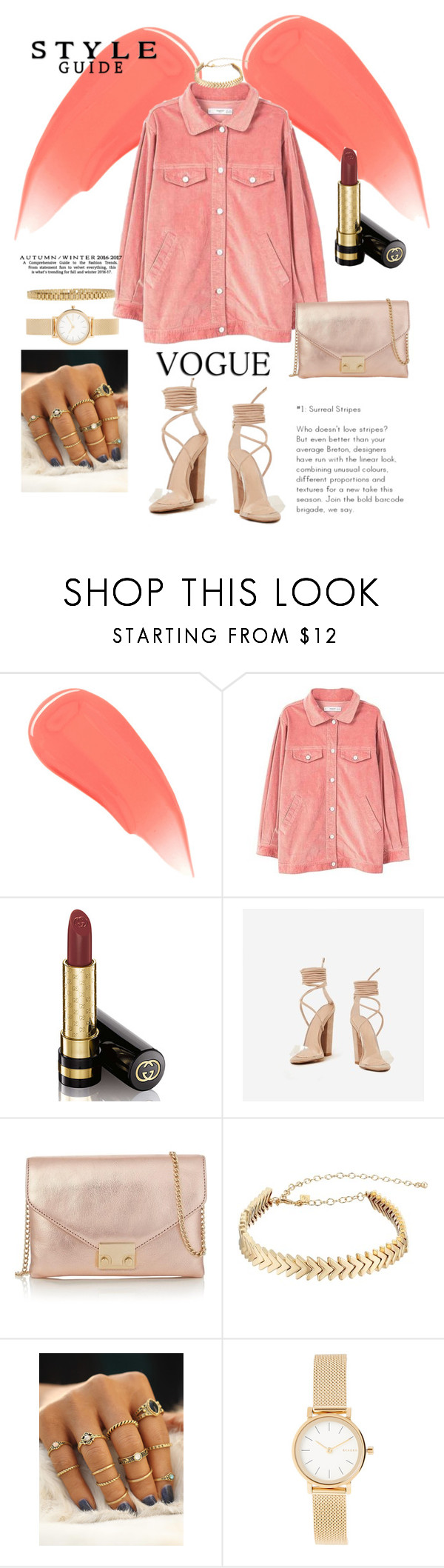 """""""Coral"""" by cephora ❤ liked on Polyvore featuring Burberry, Gucci, Loeffler Randall, Rebecca Minkoff, Skagen, AMBUSH and coral"""