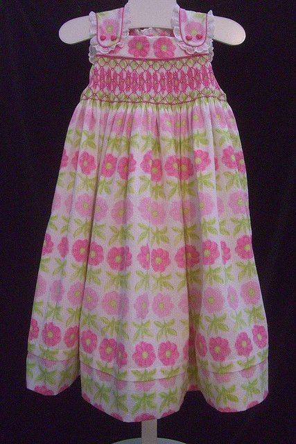 pink and green smocked dress by Angelasews