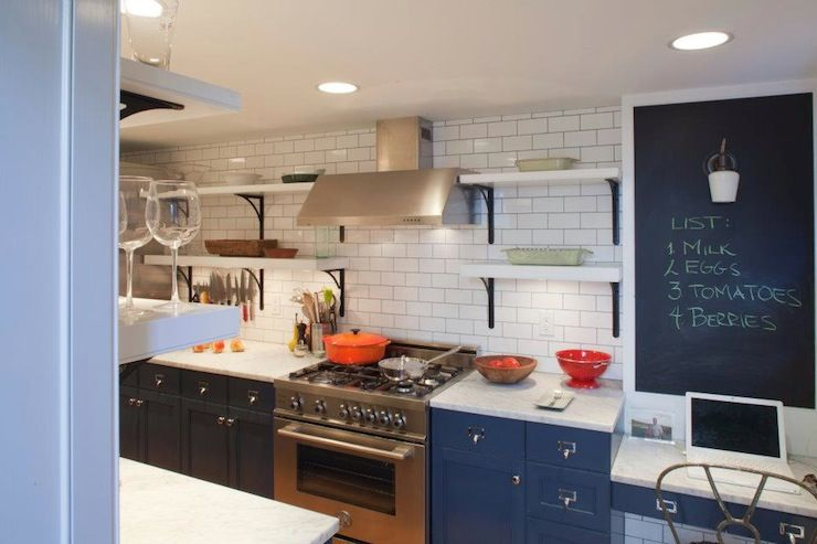 Gorgeous Galley Kitchen With Cabinets Painted Hague Blue By Farrow