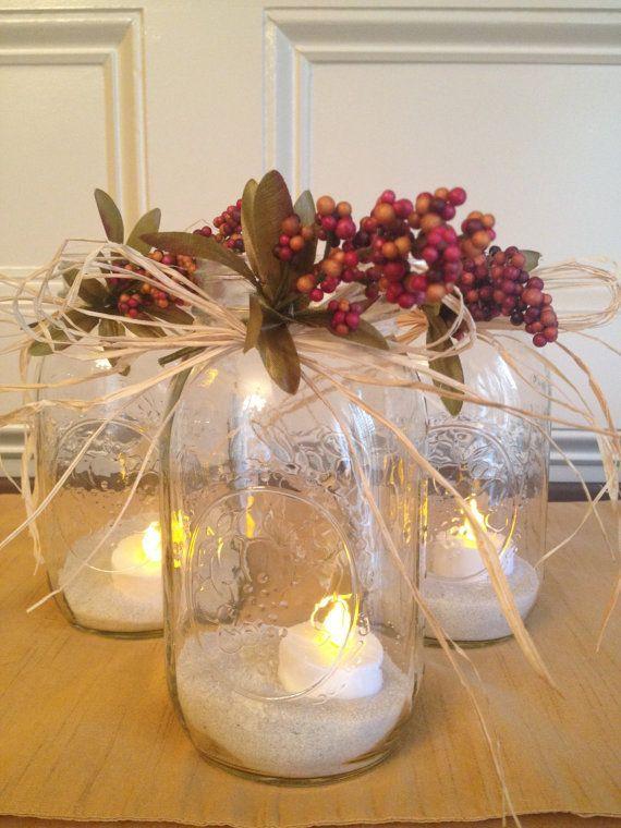 Mason Jar With Beautiful Rustic Look Set Of 3 By Countrybarnbabe 15 00 Rustic Wedding Centerpieces Romantic Rustic Wedding Christmas Bazaar Ideas