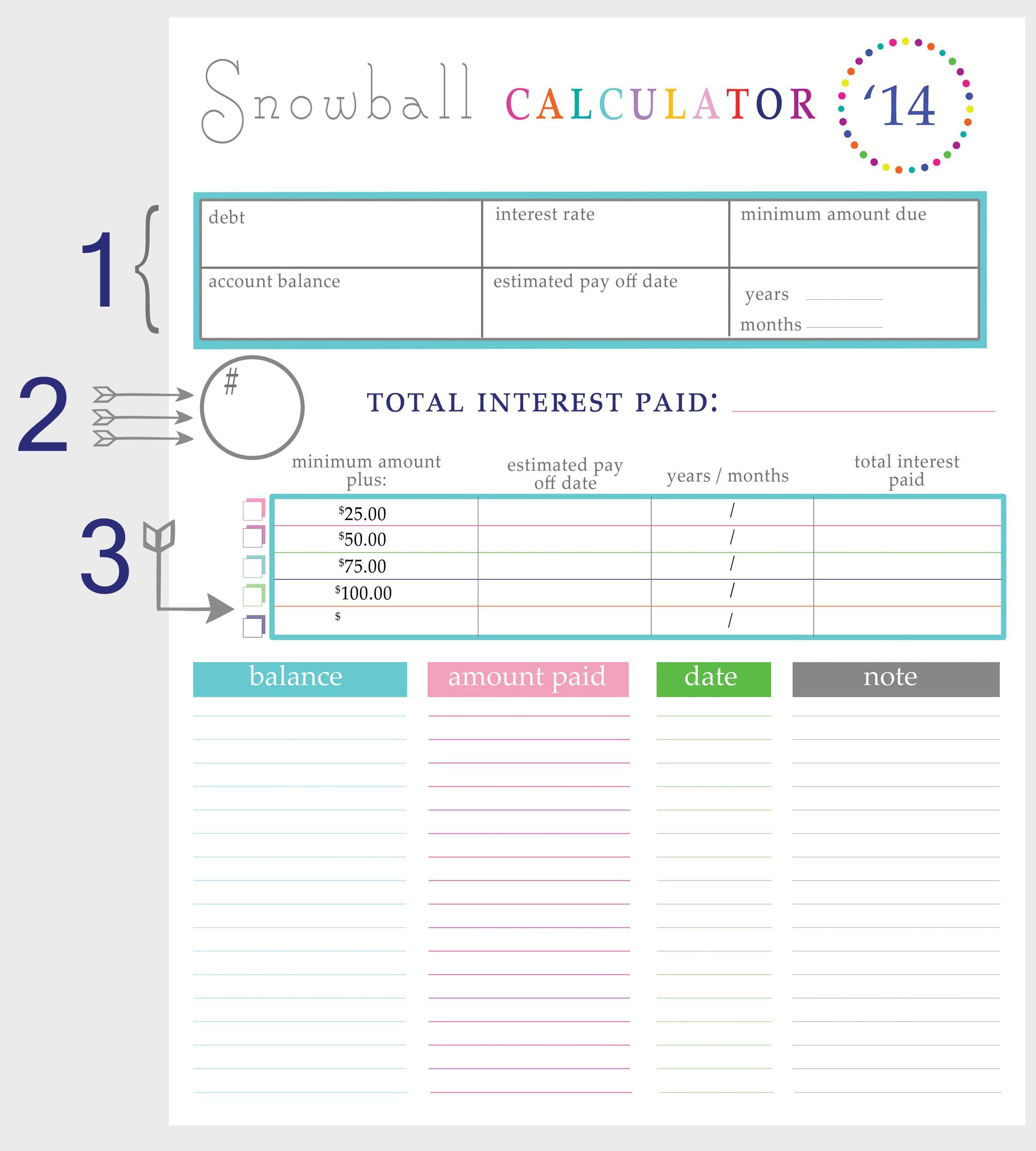 Free Printable Debt Snowball Worksheet In